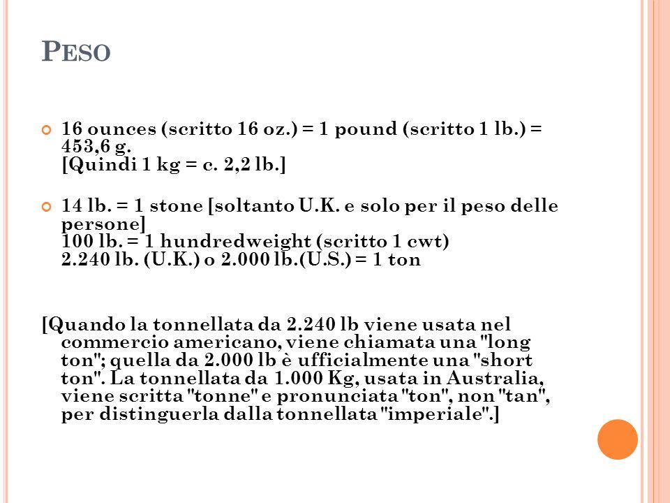 Peso 16 ounces (scritto 16 oz.) = 1 pound (scritto 1 lb.) = 453,6 g. [Quindi 1 kg = c. 2,2 lb.]